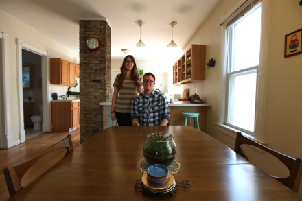 Cassie and Jake in their midcentury inspired dining room